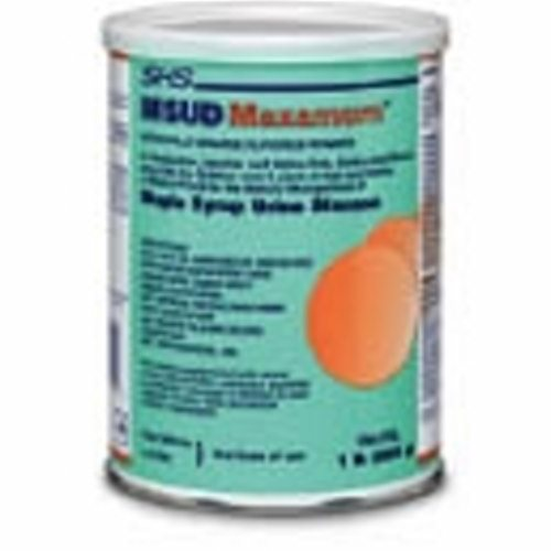 MSUD Oral Supplement MSUD Maxamum Orange Flavor 454 Gram Can Powder - Case of 6 by Nutricia North America Isoleucine-, leucine- and valine-freeContains a balanced mixture of all other essential and non-essential amino acids,carbohydrate, vitamins, minerals and trace elementsProvides 40 gm of protein equivalent per 100 gm of powderDoes not contain fat thereby allowing greater flexibility in modifying energy intake
