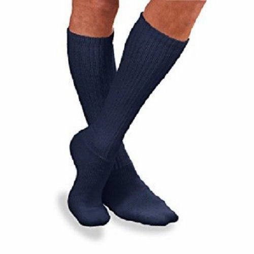 Diabetic Socks SensiFoot Knee High X-Large (12-1/2 to 14 Inch) Navy Closed Toe - Navy 2 Pairs by Bsn-Jobst Non-irritating, smooth toe seam: flat, soft, low-profile toe seam reduces pressure and irritation on toesExtra padding in the foot, heel and toe: Reduces friction and provides extra comfort and protectionAcrylic multi-fiber yarns: Wick away moisture to keep feet comfortable and dryAntibacterial, antifungal finish Inhibits growth of bacteria and fungi on the sock to help prevent odorNon-constricting, mild compression: Helps keep the sock in place to prevent sliding and bunchingMachine wash support socks in a mesh laundry bag or hand wash with warm water using a mild soap or detergent designed for compression stockings. Machine dry on low heatLatex free, 80% acrylic, 17% nylon, 3% lycra