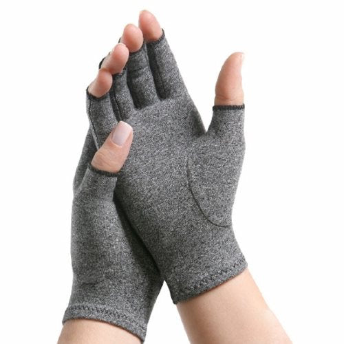 Arthritis Glove IMAK Compression Open Finger Small Over-the-Wrist Hand Specific Pair Lycra / Cotto - Gray 1 Each by Brownmed Designed to help relieve aches, pains, and stiffness associated with arthritis of the hands, IMAK Compression Arthritis Gloves have earned the Arthritis Foundations Ease of Use Commendation for its designThe unique design of the IMAK Compression Arthritis Gloves provides mild compression for warmth and helps increase circulation, which ultimately reduces pain and promotes healingThe Arthritis Gloves are made of soft, breathable cotton material, meaning they are comfortable enough to wear all day and nightThe open fingertips allow you complete freedom to feel, touch and grip, so you can perform daily tasks without issueBlack accentWashable