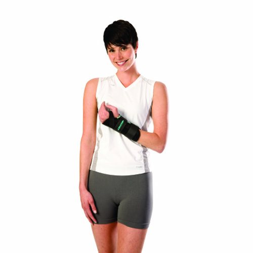 Wrist Brace AirCast A2 Nylon / Foam Left Hand Black Medium - 1 Each by DJO Designed to provide support for wrist injuries, carpal tunnel syndrome, post-operative use, and post-removal of casting or splintDual removable stabilizers above and below the hand help contorl wrist movement whill allowing full finger dexterityAdjustable straps allow for a personalized fitContoured shape and cool, dry, breathable material ensures comfort