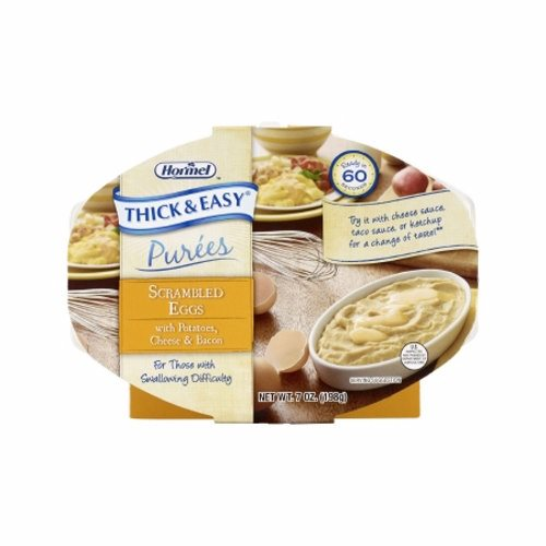 Puree Thick & Easy Purees 7 oz. Container Tray Scrambled Eggs / Potatoes Flavor Ready to Use Puree  - Case of 7 by Hormel Food S Thick and Easy Pureed Microwave Trays are ready when you need themThese nutritious trays are ready in 60 seconds and are easily stored in the dry pantry