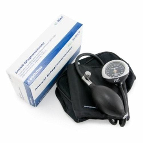 Aneroid Sphygmomanometer with Cuff Select 2-Tube Pocket Size Hand Held Adult Size - Black 1 Each by McKesson SELECT Standard Grade Sphygmomanometers deliver precise results. They are durable and tear-resistant. Not Made with Natural Rubber Latex material helps to decrease the risk of allergic reactions. Available in adult and large adult sizes. Color: black.