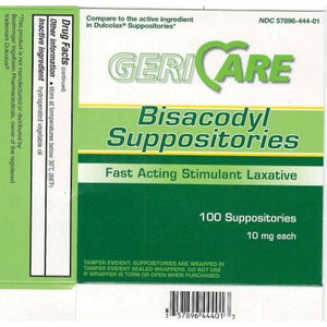 Laxative Geri-Care  Suppository 100 per Box 10 mg Strength Bisacodyl USP