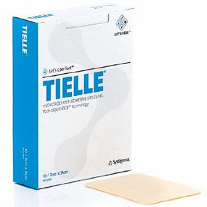 Foam Dressing TIELLE 4-1/4 X 4-1/4 Inch Square Adhesive with Border Sterile 10 Count by Systagenix Wound Management