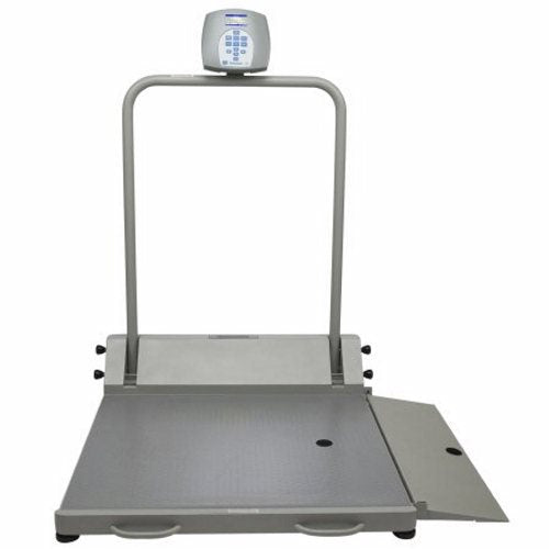 Wheelchair Ramp Scale Health O Meter Digital LCD Display 1000 lbs. / 474 kg Gray AC Adapter / Batte Black 1 Each by Health O Met Capacity: 1000 lb / 454 kgResolution 0.2 lbs. / 0.1 kgEMR connectivity3/4 inch Digital LCD Display, can be wall mounted or placed on flat surfaceFunctions: LB / KG Conversion, LB / KG Lock Out, Body Mass Index (BMI), Zero Out / Tare, Hold / Release, Reweigh, Auto Zero, Auto OffPlatform: 35-3/4  (w) x 32-1/4  (d) (2650KL)Platform: 43  (w) x 42  (d) (2700KL)120V adapter included, 6 AA batteries (not included)2 Year Limited Warranty