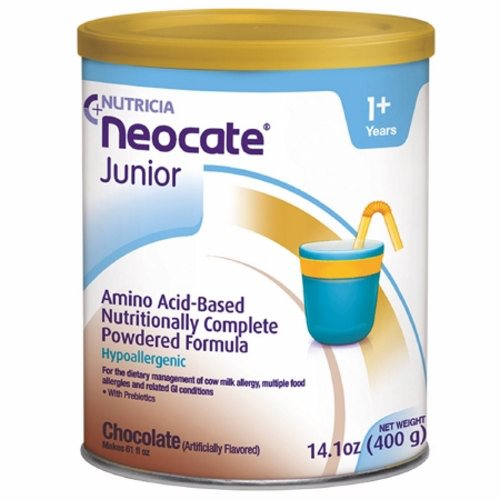 Pediatric Oral Supplement Tube Fee 14.1 Oz - Case of 4 by Nutricia North America Neocate Junior is a hypoallergenic, nutritionally-complete, powdered, amino acid-based medical food with prebiotic fiber for individuals over the age of 1Hypoallergenic, amino acid-based formula in a powdered formEasy and convenient mixingCan be used for oral or tube feedingMade in a 100% dairy-free facility with ingredients that are certified by suppliers to be derived from non-genetically modified organismsContains prebiotic fiber to help promote digestive healthProvides essential nutrients needed to help children over the age of 1 thrive