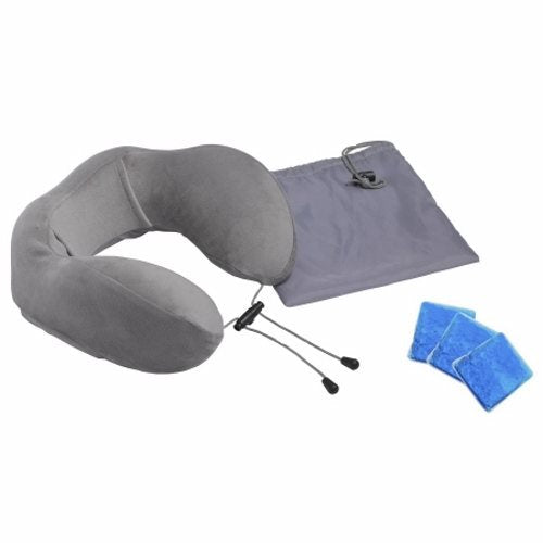 Neck Support Pillow Comfort Touch Soft 4.9 X 10.2 X 11.2 Inch - 1 Each by Drive Medical Ergonomically designed memory foam provides support for your head and neck while at home or on the goSoft velour cover enhances relaxation and is easily removable for cleaningIncludes 3 reusable gel packs and a travel bag for easy storage and portability