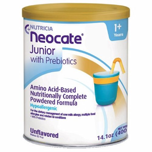Pediatric Oral Supplement / Tube Feeding Formula Neocate Junior with Prebiotics Unflavored 14.1 oz. - Case of 4 by Nutricia Nort Neocate Junior is a hypoallergenic, nutritionally-complete, powdered, amino acid-based medical food with prebiotic fiber for individuals over the age of 1Hypoallergenic, amino acid-based formula in a powdered formEasy and convenient mixingCan be used for oral or tube feedingMade in a 100% dairy-free facility with ingredients that are certified by suppliers to be derived from non-genetically modified organismsContains prebiotic fiber to help promote digestive healthProvides essential nutrients needed to help children over the age of 1 thrive