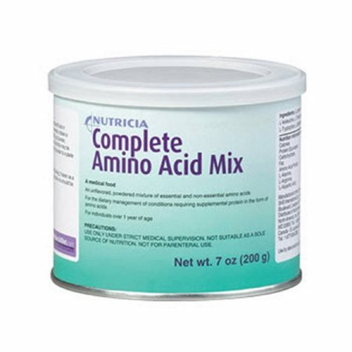 Amino Acid Oral Supplement Complete Amino Acid Mix Unflavored 7 oz. Can Powder - Case of 6 by Nutricia An unflavored, powdered mixture of essential and non-essential amino acidsA medical foodBalanced mixture of essential and non-essential amino acidsSupplements increased protein needs in enteral formulasProvides 4 grams of protein equivalent per 5 grams of powderMade in a dairy protein-free facilityNo artificial colors, flavors, sweeteners