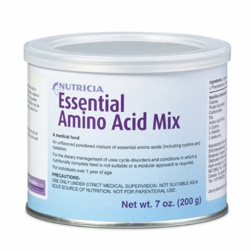 Amino Acid Oral Supplement Unflavored 7 oz - Case of 6 by Nutricia North America An unflavored, powdered mixture of essential amino acids, including cystine and histidineA medical foodBalanced mixture of essential amino acidsEssential Amino Acid Mix provides 4 grams of protein equivalent per 5 grams of powderOsmolality (5% w/v): 360 mOsm/kgMade in a dairy protein-free facilityNo artificial colors, flavors, sweeteners