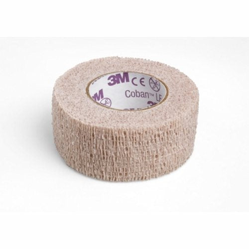 Cohesive Bandage 3M Coban LF 1 Inch X 5 Yard Standard Compression Self-adherent Closure Tan NonSteri - Tan 5 Count by 3M Hand tearable - eliminates the need for scissors or cuttingSticks to itself without need for adhesive, pins or clips for fast and easy applicationLightweight, porous and comfortable for patientsVersatile û used to secure and protect primary dressings and other devicesAlso helps immobilize injuries and provide compression