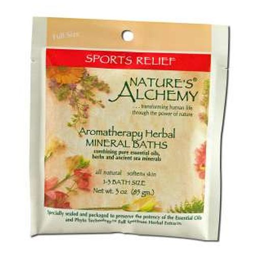 Aromatherapy Bath Sports Relief 3 Oz by Natures Alchemy Sports relief is specially formulated to relax and heal overworked muscles atthe end of a long day, a strenuous workout or a walk in the woods. As yousoak in the tub, you'll feel Sports Relief warming your tired muscles, easingthe pain of minor injuries and increasing circulation. By combining herbalextracts with pure essential oils in our ancient sea mineral salts, Nature'sAlchemy has created a natural, restorative blend to enrich your total bathingexperience.