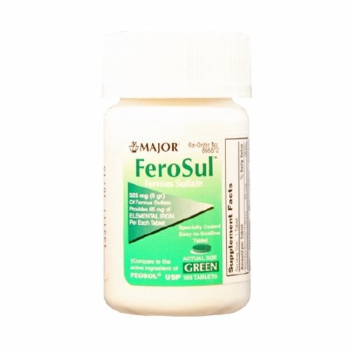 Mineral Supplement Feosol Iron 325 mg Strength Tablet 100 per Bottle 100 Tabs by Major Pharmaceuticals This product provides the body with ferrous sulfateIt is recommended for iron deficiency when the need for Vitamin and Mineral Supplementation has been determined by a health professional