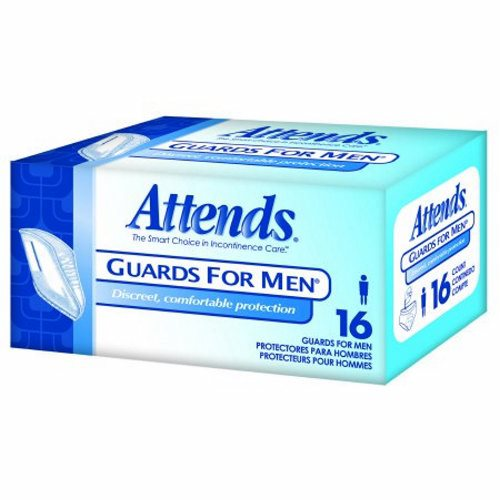 Bladder Control Pad Attends Guards For Men 8-1/2 X 10-1/4 Inch Light Absorbency Polymer Core One S - Case of 64 by Attends Anatomical, form-fitting shape provides superior comfort and fitSoft absorbent core with hygard polymer absorbs fluids quickly and helps prevent odorsWhite, cloth-like outer cover is soft and discreet, and adhesive peel strip keeps guard firmly in placeExcellent choice for leakage or dribbles as a result of surgeries or light incontinence