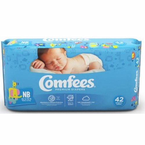 Unisex Baby Diaper Comfees Tab Closure Newborn Disposable Moderate Absorbency - Case of 168 by Attends Comfees Total Fit System provides ultimate comfort and leakage protectionComfees premium baby diapers, with an ultra-absorbent core, lock away wetness to provide up to 12 hours of DriNite protectionThe unique SoftFlex waistband, patented stretch fasteners, and ultra-contoured shape are designed to move with baby to ensure a comfortable, snug, and secure Comfees fitComfees soft hypoallergenic liner, soft outer cover, and perfume free design protect and promote the health of babys delicate skinFun colorful designThe Wetness Indicator on sizes Newborn, 1, 2, and 3 turns blue when wet so youll know when its time for a change
