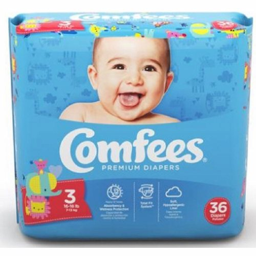 Unisex Baby Diaper Comfees Tab Closure Size 3 Disposable Moderate Absorbency - Case of 144 by Attends Comfees Total Fit System provides ultimate comfort and leakage protectionComfees premium baby diapers, with an ultra-absorbent core, lock away wetness to provide up to 12 hours of DriNite protectionThe unique SoftFlex waistband, patented stretch fasteners, and ultra-contoured shape are designed to move with baby to ensure a comfortable, snug, and secure Comfees fitComfees soft hypoallergenic liner, soft outer cover, and perfume free design protect and promote the health of babys delicate skinFun colorful design