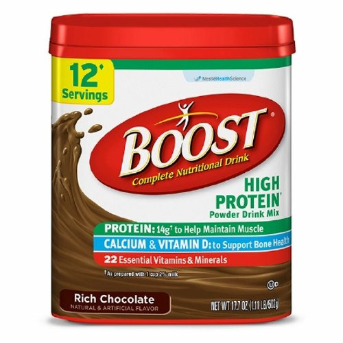 Oral Supplement Boost High Protein Rich Chocolate Flavor 17.7 oz. Container Canister Powder - Case of 4 by Nestle Healthcare Nut Convenient and economical powder drink mix with 21 essential vitamins and minerals and 14 grams of high-quality protein when prepared with 1 cup of 2% milk - a great way to help maintain muscle and help meet daily nutritional needs