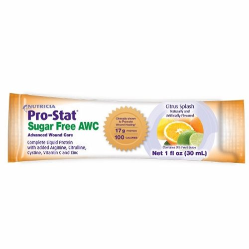 Protein Supplement Pro-Stat Sugar Free AWC Citrus Splash Flavor 1 oz. Unit Dose Pack Ready to Use - Case of 96 by Medical Nutrit Advanced Wound Care, complete liquid protein with Arginine, Citrulline, Cystine, Vitamin C and ZincClinically supported in 1 published trail to promot wound healing in stage 3 and 4 pressure injuriesContains 17 grams of protein and 100 calories in 1 oz