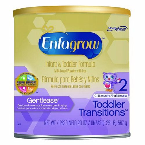 Pediatric Oral Supplement Enfagrow Toddler Transitions Gentlease Unflavored 20 oz. Can Powder - Case of 4 by Mead Johnson Perfect for children transitioning from Enfamil Gentlease, Enfagrow Gentlease is designed for toddlers 9 months and up experiencing fussiness and gasHas a special blend of easy-to-digest proteins and has 50% the lactose of a routine milk-based infant and toddler formulaDHA to help support brain and eye developmentIron to help support mental development and antioxidants to help support your toddlers developing immune system