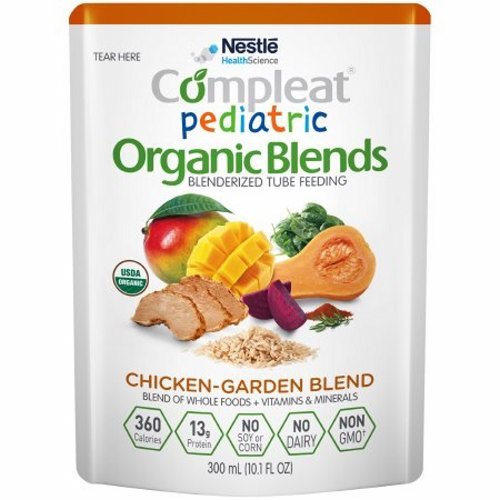 Pediatric Oral Supplement / Tube Feeding Formula - Chicken-Garden Flavor, 10.1 Oz by Nestle Healthcare Nutrition Made with a variety of blenderized organic whole foods including mango, chicken, butternut squash, brown rice, beet, and spinachShort or long-term tube feeding for those who prefer an organic formula with real whole foodsMay help address feeding intolerance common in individuals with developmental disabilitiesNot for parenteral useThis product is intended for use under medical supervisionComplete plant-based protein blend provides a PDCAAS of 1Blend of organic olive oil and organic canola oil provides oleic acid, linoleic acid (LA), and alpha-linolenic acid (ALA)ùan omega-3 fatty acidFiber provided by fruits, vegetables, and grain to support normal bowel function and digestive healthOrganic, Non-GMO., no dairy, no soy, no cornNo artificial colors, flavors, or sweeteners, no sugar added, lactose free, gluten freeProvides approximately 4 cup equivalents of fruits and vegetables in 1000 mLNutritionally complete formula for tube feeding or can be consumed orally