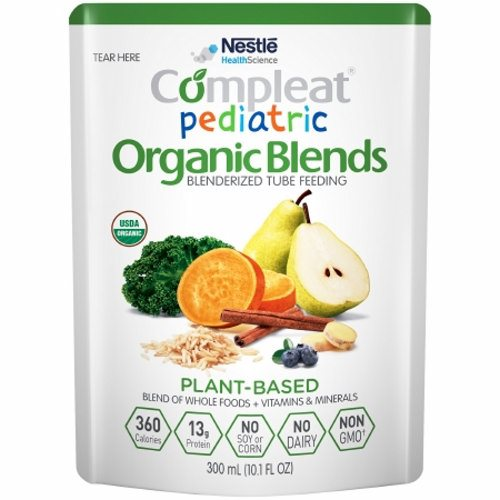 Pediatric Oral Supplement / Tube Feeding Formula - Plant Blend Flavor, 10.1 Oz by Nestle Healthcare Nutrition Made with a variety of blenderized organic whole foods including sweet potato, pear, brown rice, blueberries, and kaleShort or long-term tube feeding for those who prefer an organic formula with real whole foodsMay help address feeding intolerance common in individuals with developmental disabilitiesNot for parenteral useThis product is intended for use under medical supervisionComplete plant-based protein blend provides a PDCAAS of 1Blend of organic olive oil and organic canola oil provides oleic acid, linoleic acid (LA), and alpha-linolenic acid (ALA)ùan omega-3 fatty acidFiber provided by fruits, vegetables, and grain to support normal bowel function and digestive healthOrganic, Non-GMO., no dairy, no soy, no cornNo artificial colors, flavors, or sweeteners, no sugar added, lactose free, gluten freeProvides approximately 4 cup equivalents of fruits and vegetables in 1000 mLNutritionally complete formula for tube feeding or can be consumed orally