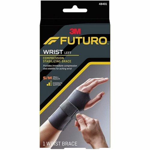 Wrist Support Small / Medium  Left  Case of 12 by 3M Provides moderatestabilizing support to injured wrists and helps relieve carpal tunnel syndrome symptomsAllows your fingers to move naturallyLow cut  ergonomic shape allows free hand movement for typing  writing  etc.Three adjustable straps for a customized fitLow profile  sleek designFor sizing  measure around the wrist at the smallest point
