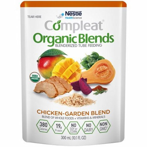 Oral Supplement / Tube Feeding Formula Chicken-Garden 10.1 oz - 1 Each by Nestle Healthcare Nutrition Made with a variety of blenderized organic whole foods including mango, chicken, butternut squash, brown rice, beet, and spinachNot for parenteral useThis product is intended for use under medical supervisionComplete plant-based protein blend provides a PDCAAS of 1Organic, Non-GMO, no dairy, no soy, no cornBlend of organic olive oil and organic canola oil provides oleic acid, linoleic acid (LA), and alpha-linolenic acid (ALA)ùan omega-3 fatty acidFiber provided by fruits, vegetables, and grain to support normal bowel function and digestive healthProvides approximately 4 cup equivalents of fruits and vegetables in 1000 mLMay help address feeding intolerance common in individuals with developmental disabilities