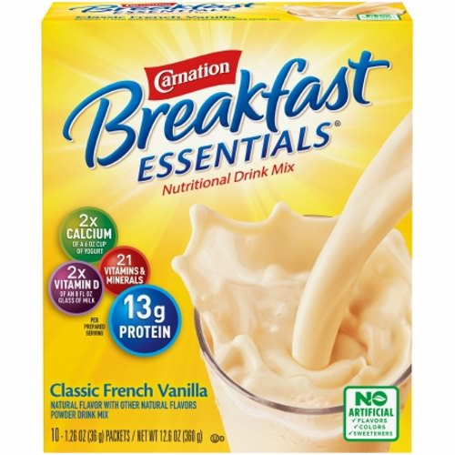 Oral Supplement French Vanilla 36 gm - Case of 60 by Nestle Healthcare Nutrition Excellent source of protein and 21 vitamins and minerals13 grams of protein to help build and maintain muscleRich in calcium and vitamin D* to help build strong bonesFor smoothie ideas and over 100 recipes visit CarnationBreakfastEssentials.comProvides nutritional support for individuals with inadequate oral intake or weight maintenance.*When prepared as directed with 1 cup fat-free milkNote: See individual product labels for ingredients, allergen statements, and indications for use