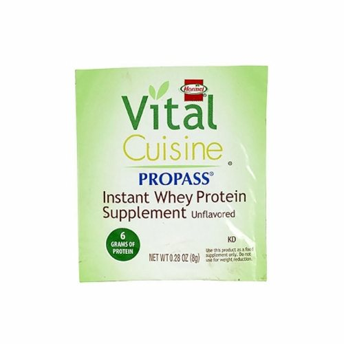 Oral Protein Supplement 0.28 oz - Case of 100 by Hormel Food Sales Vital Cuisine ProPass Whey Protein Supplement Powder provides 6 grams of high quality protein and 30 calories for improved nutritionIt disperses easily and enhances the protein content of the food without changing the taste