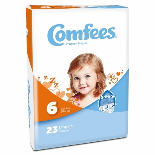 Unisex Baby Diaper Size 6  Case of 92 by Attends Comfees Total Fit System provides ultimate comfort and leakage protectionComfees premium baby diapers  with an ultraabsorbent core  lock away wetness to provide up to 12 hours of DriNite protectionThe unique SoftFlex waistband  patented stretch fasteners  and ultracontoured shape are designed to move with baby to ensure a comfortable  snug  and secure Comfees fitComfees soft hypoallergenic liner  soft outer cover  and perfume free design protect and promote the health of babys delicate skinFun colorful design
