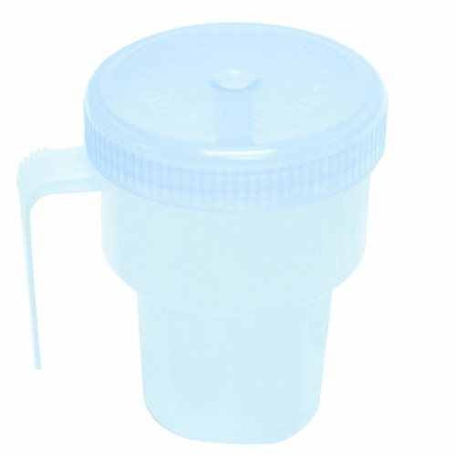 Spillproof Drinking Cup 7 oz - 1 Each by Fabrication Enterprises Ideal for people of all ages with an ergonomic J handleIt wont spill even when turned upside downIts useable with any style straw and is dishwasher safe