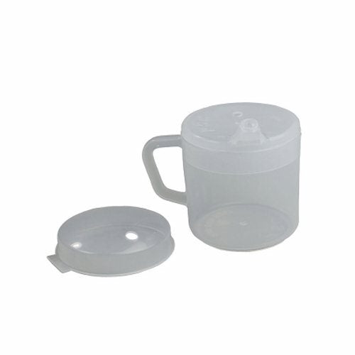 Drinking Mug 8 oz - 1 Each by Fabrication Enterprises Dishwasher SafeComes with two specialty lids to suit every needThe spout lid has a contoured spout to fit comfortably in the mouthThe anti splash lid prevents splashing and helps to direct the flow of liquid into the mouthBoth lids allow the flow of liquid to be regulated and can be used with a straw