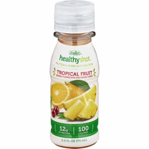 Oral Protein Supplement - Case of 24 by Hormel Food Healthy Shot Protein Beverage Supplement is fruit flavored, clear, clean and refreshingA 2.5 fl.oz. serving supplies 100 calories and 12 of high quality proteinIt is also fortified with a select nutrient blend that includes Vitamins A,C,D,E and folic acidIt is a supplement beverage for individuals who require the extra protein without all the calories and fluid volumeIt is ideal for individuals with increased protein needs, during surgical recovery, trauma, wounds, cancer treatment and undergoing dialysis