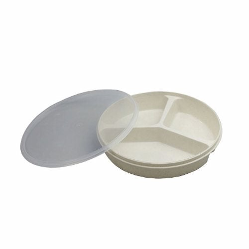 Partitioned Scoop Dish 8 Inch - 1 Each by Fabrication Enterprises Three 1-? inch deep compartments keep food separatedTwo smaller sections hold 6.75 ouncesThe larger one has a 12.6 ounce capacityHigh compartment walls may be used to push food onto forks and spoonsStackable with clear plastic covers for easier transporting and storage of foodDishwasher and microwave safe