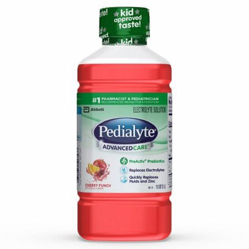 Pediatric Oral Electrolyte Solution Pedialyte AdvancedCare Cherry Punch Flavor 1 Liter Bottle Ready - 1 Each by Abbott Nutrition Includes PreActiv Prebiotics that can help promote a healthy digestive system by restoring the balance between good and bad bacteriaA flavorful way for kids and adults to replace electrolytes to feel better fastDesigned to replace fluids and electrolytes more effectively than sports drinks, Pedialyte provides an optimal balance of sugar and electrolytes to prevent mild to moderate dehydrationIts medical-grade hydration