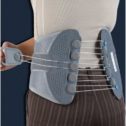 Spine Brace - 1 Each by DonJoy Provides relief of discomfort associated with strain and sprains. Also aids in decompression of the spine and in proper alignment while sitting and standing for prolonged periods of time. Ergonomically shaped lightweight panels and flexible pulley system help provide support and compression while comfortably contouring and conforming to the body. The low-friction flexible pulley system has a quick, one-hand adjustment providing controlled compression and support level.