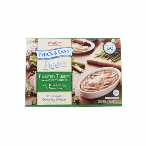Puree Thick & Easy with Stuffing / Green Beans Flavor  Case of 7 X 7 Oz by Hormel Food Sales Thick and Easy Pureed Microwave Trays are ready when you need themThese nutritious trays are ready in 60 seconds and are easily stored in the dry pantry