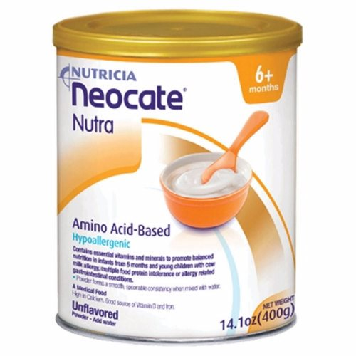 Pediatric Oral Supplement - Case of 4 by Nutricia North America Neocate Nutra is the first and only hypoallergenic, amino acid-based, semi-solid medical food for infants and children over 6 months of ageNeocate Nutra should not be used as a sole source of nutrition, but as a supplement to formula or other foods as directed by a healthcare professionalHypoallergenic, amino acid-based semi-solid formula in a powdered formEasy and convenient mixingIdeal for spoon feedingTo supplement formula or foods as directed by healthcare professionalMade in a 100% dairy-free facility with ingredients that are certified by suppliers to be derived from non-genetically modified organisms