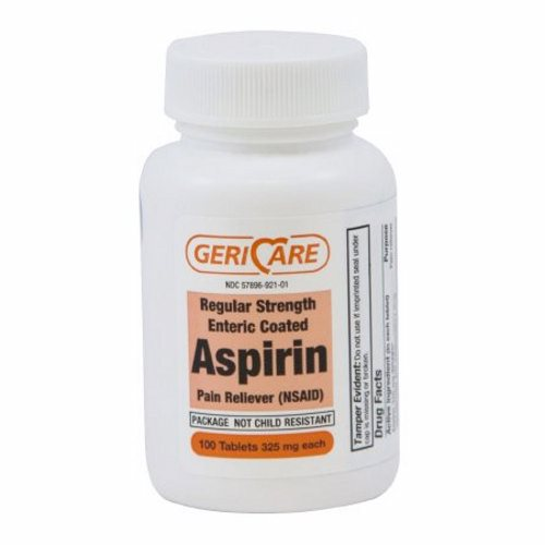 Pain Relief GeriCare 325 mg Strength Aspirin Tablet 100 per Bottle 100 Tabs by McKesson Aspirin TabletsTemporarily relieves  headache  muscle pain  toothache  menstrual pain  pain and fever of colds  minor pain of arthritisHelps prevent another heart attack or clotrelated (ischemic) stroke when taken as directed by your doctorTemporarily reduces feverPain RelieverCompares to the active ingredient in Bayer Aspirin tablets.Not Made with Natural Rubber Latex.Packaged  100 Per BottleBayer is a registered trademark of Bayer HealthCare.