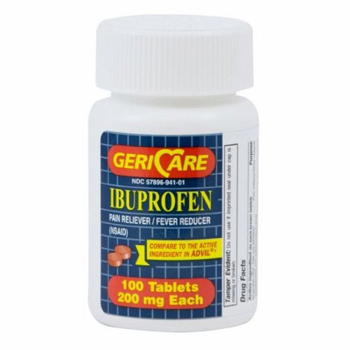 Pain Relief GeriCare 200 mg Strength Ibuprofen Tablet 100 per Bottle 100 Tabs by McKesson McKesson Ibuprofen TabletsIbuprofen is used to reduceáfeverTemporarily treat pain or inflammation caused by many conditions such as headache  toothache  back pain  arthritis  menstrual cramps  or minor injuryIbuprofen is a nonsteroidal antiinflammatory drug (NSAIDCompares to the active ingredient in Advil tablets.Not Made with Natural Rubber Latex.Packaged  100 Per BottleAdvil is a registered trademark of Wyeth Consumer Healthcare.