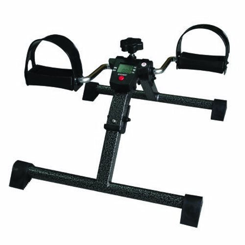 Pedal Exerciser CanDo Portable / Display Panel Adjustable Resistance Levels 11 X 17 X 22 Inch Black - 1 Each by Fabrication Ente This model folds for easy storage, transportation and shippingComes pre-assembled, just add tension knobDigital LCD display panel keeps track of RPM, pedal count, time count, calorie count and scanCan be used on the floor for foot pedaling or on a tabletop for hand pedalingWide leg spread and non-marring feet keep exerciser stableWraparound adjustable straps help keep feet and hands secureAdjust resistance by turning the tension knobCan pedal forwards or backwards