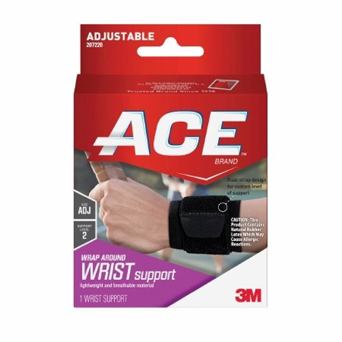 Wrist Support 3M Ace Low Profile Left or Right Hand Black / White One Size Fits Most - 1 Each by 3M Provides moderate support to sore, weak and injured wristsLimits motion to help protect tender wristsTwo adjustable straps for customized fit and supportBreathable, lightweight materials for all-day comfort