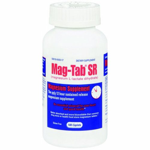 Mineral Supplement Mag-Tab SR Magnesium 84 mg Strength Tablet 100 per Pack - 100 Count by Niche Pharmaceuticals Helps nerve & muscle functionMost Potent & Concentrated Form of Magnesium