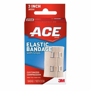 Elastic Bandage 3M ACE 3 Inch Width Standard Compression Clip Detached Closure Tan NonSterile