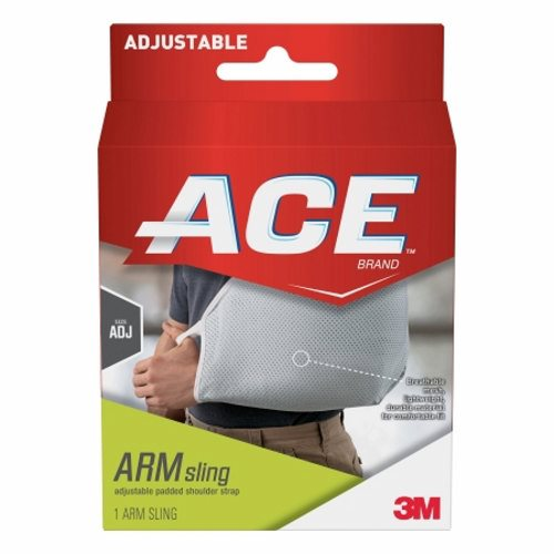 Arm Sling 3M Ace Buckle Closure One Size Fits Most - 12 Each by 3M Adjustable, padded shoulder strapThumb loop helps hold the hand in positionCustomizable, cushioned design provides personalized comfortQuick-release buckle for easy removalWashable