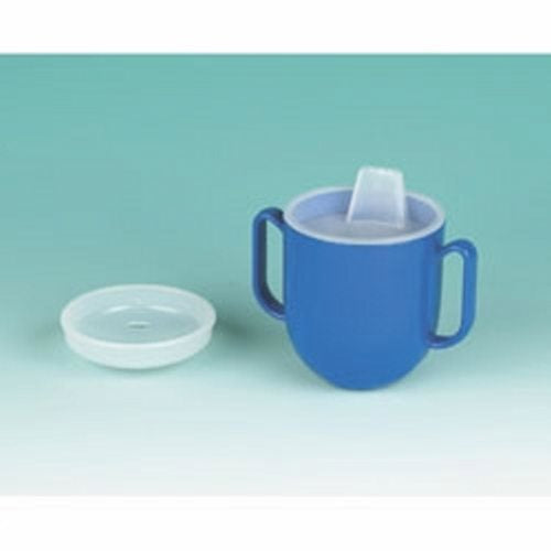 Spillproof Drinking Cup Ableware 6.5 oz. Blue Plastic Reusable - 1 Each by Ableware Two-handled cup with weighted base and rounded corners is ideal for pediatric useIt is self-righting even when released from a lying positionIt comes with a clear plastic, dish-shaped lid with two holes to let fluid flow into the dish for drinkingAnother lid has a molded plastic mouthpieceTop shelf dishwasher safe
