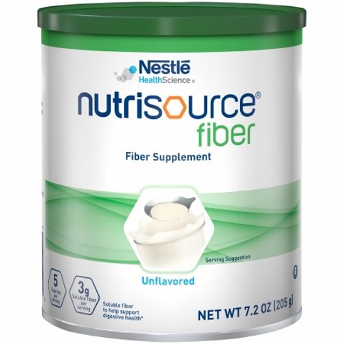 Oral Supplement Unflavored 7.2 oz Powder - Case of 4 by Nestle Healthcare Nutrition Each serving of NUTRISOURCE FIBER powder provides 3 grams of soluble fiber from partially hydrolyzed guar gum (PHGG)Suitable for these diets: lactose-free, gluten-free, kosherNot for parenteral useNutritional applications: Bowel management, digestive healthWill not compromise taste or texture of foods or beveragesCan be added to juice, milkshakes, pudding, gravy, soup, sauces, or casserolesSuitable fiber source for a low FODMAP diet (Fermentable Oligo- Di- Mono-saccharides And Polyols)These statements have not been evaluated by the FDAThis product is not intended to diagnose, cure, or prevent any diseaseNote: See individual product labels for ingredients, allergen statements, and indications for use