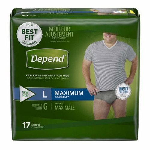 Male Adult Absorbent Underwear Depend FIT-FLEX Pull On with Tear Away Seams Large Disposable Heavy - Gray Case of 34 by Kimberly Improved waistband for added security and an underwear-like fit, cloth-like material provides comfort that feels like real underwearConfidence Core technology for protection where men need itConfidence Core Technology provides dry, comfortable protection where men need it mostForm-fitting LYCRA strands offer a smooth, comfortable fit that is more flexible to move with you unlike bulky adult diapersMaximum absorbency, disposable underwear trap and lock in odor, and come in a neutral gray color