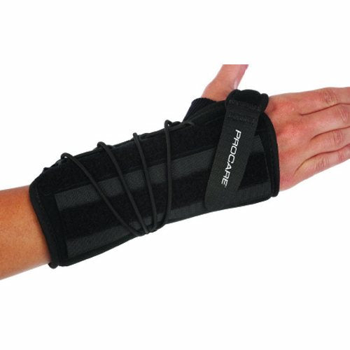 Wrist Support Quick-Fit Wrist II Removable Palmar Stay Nylon / Foam Right Hand Black One Size Fits  - 1 Each by DJO The Quick-Fit Wrist II is a universal, functional wrist orthosis for the treatment of wrist and hand injuries and traumaA simple single pull lace design and stockinet tongue ease application while the soft nylon/foam laminate offers maximum comfortThe Quick-Fit Wrist II has an adjustable, malleable dorsal stay pod that may be placed in the proper location for maximum immobilization or removed completely during rehabilitationA unique contoured palmar stay provides proper anatomical fit allowing full finger dexterity and may be contoured as needed to address a variety of indicationsUniversal left and right sizes limit inventory to help improve efficiencies