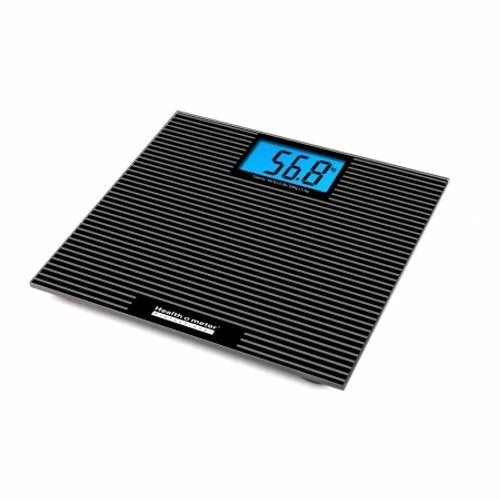 Floor Scale Health O Meter Digital LCD Display 397 lbs. AC Adapter / Battery Operated - 1 Each by Health O Meter Digital glass scale with anti-slip tread1-7/8 Inch LCD displayTwo 3-volt lithium batteries includedLB / KG switch, auto zero, 5 second weight hold, auto offTwo 3-volt lithium batteries includedBacklight